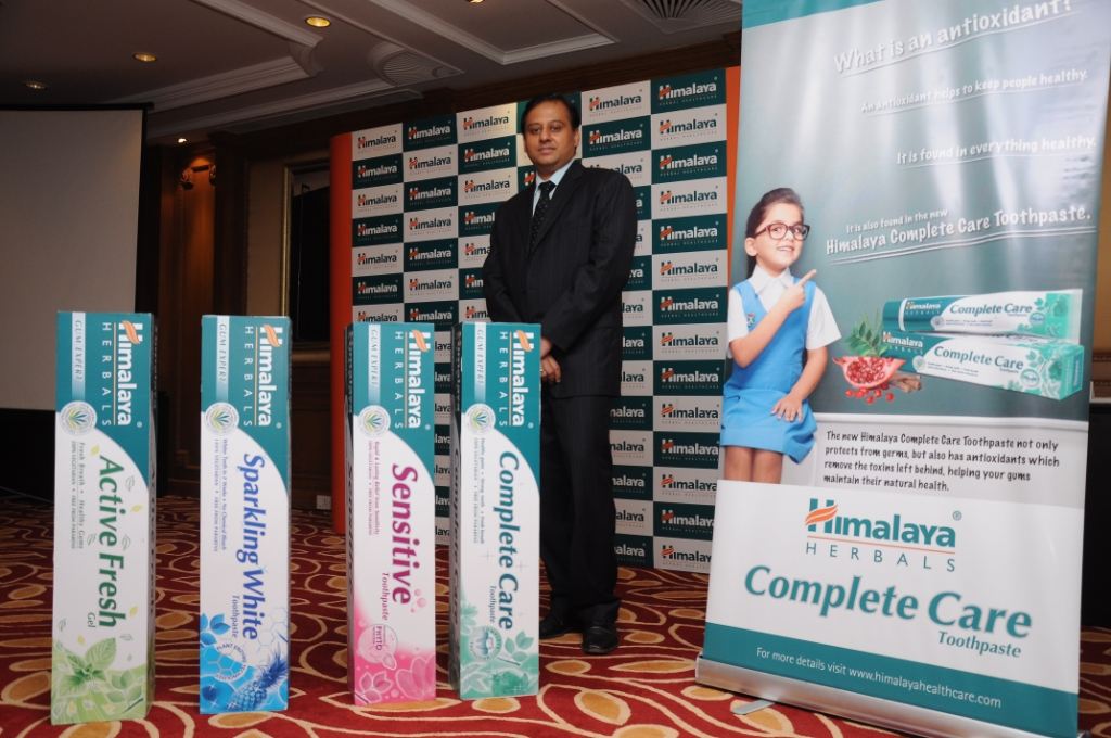 mr. rajesh k, business head, consumer products, himalaya herbals at the launch of himalaya's new oral care range