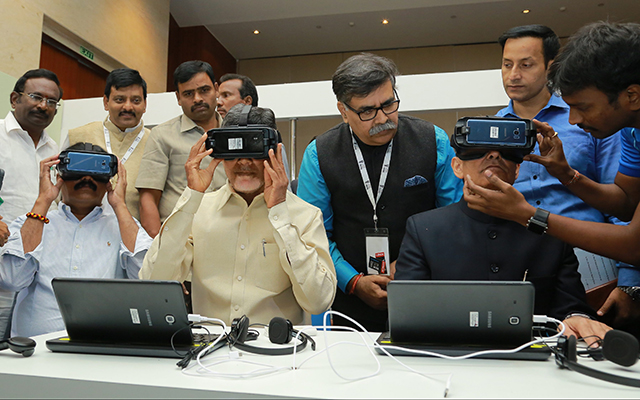 Chandrababu Naidu at Samsung Partners Unesco launching VR Content