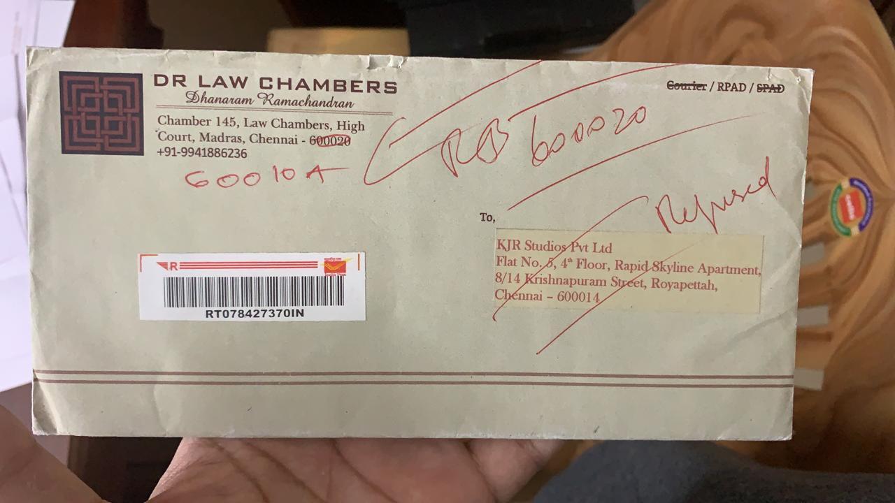 DR Law Chambers Letter Returned by KJR Studios